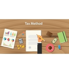 tax method concept with businessman working on vector image