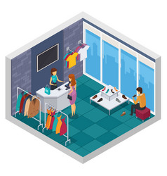 Trying shop isometric composition vector