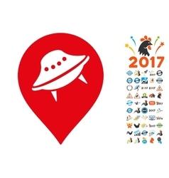 Ufo Place Icon with 2017 Year Bonus Symbols vector image vector image
