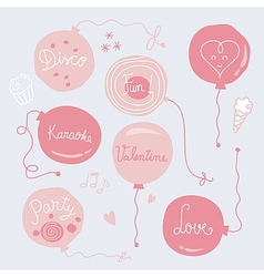 Valentines Day Balloons Set vector image vector image