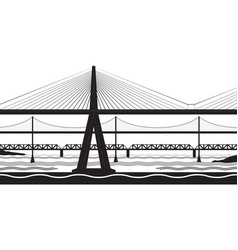 various bridges cross the river vector image vector image