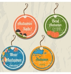 Set of 4 retro autumn tags vector