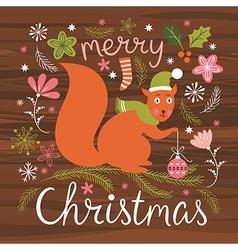 Christmas  cute squirrel vector image
