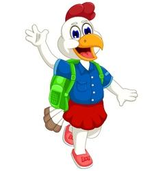 funny hen cartoon going to school vector image