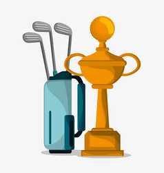 Golf trophy and bag clubs vector