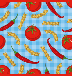 Italian pasta and vegetables seamless pattern vector