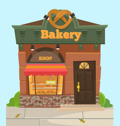 Bakery chocolate sweet city shop front view vector
