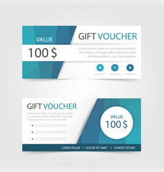 Blue polygon gift voucher template with colorful vector