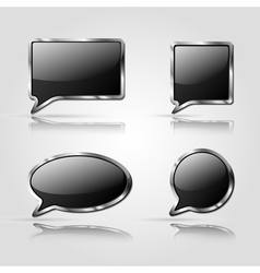 Set of black speech bubbles vector