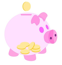 Pink piggy bank with coins vector