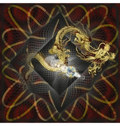 Golden Chinese Dragon on textured background vector image