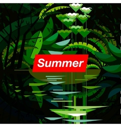 Summer tropical forest seasonal background vector
