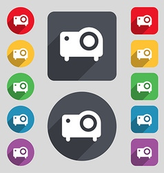 Projector icon sign a set of 12 colored buttons vector