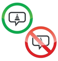 Traffic cone message permission signs vector