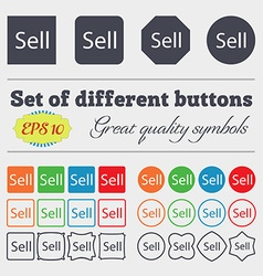Sell sign icon contributor earnings button big set vector