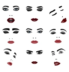 Set of beauty woman face elements vector