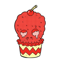 Spooky skull cupcake comic cartoon vector