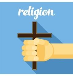 Religion cross in hand faith vector