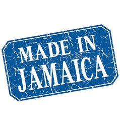 Made in jamaica blue square grunge stamp vector