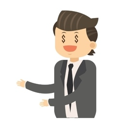 Happy businessman with dollar sign eyes icon vector