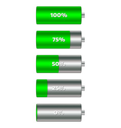 battery charge level indicators in green color vector image vector image