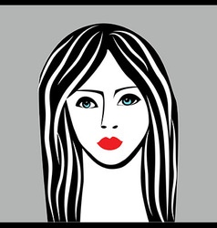 Beauty girl face sketch woman face portrai vector