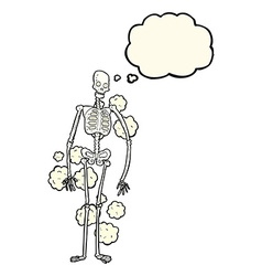 Cartoon dusty old skeleton with thought bubble vector