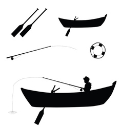 Child fishing in boat vector