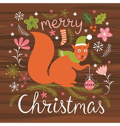 Christmas cute squirrel vector image vector image