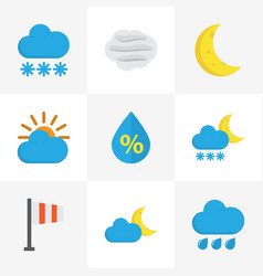 Climate flat icons set collection of sunny drop vector