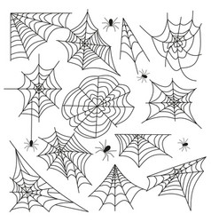 cobweb set spider web halloween black vector image vector image