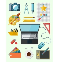 Designer workplace icons vector