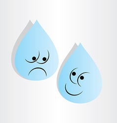 Drops of water sad worry and happy vector