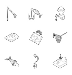 Fishing on river icons set outline style vector
