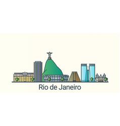 flat line rio de janeiro banner vector image