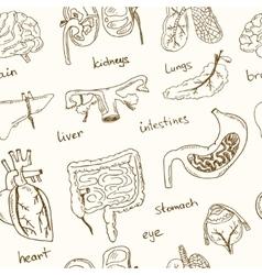 Human internals doodle seamless pattern vintage vector