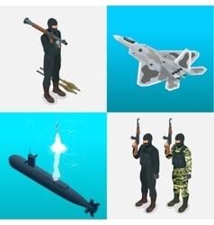 Isometric icons submarine aircraft tanks vector image