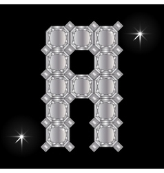 Metal letter a gemstone geometric shapes vector