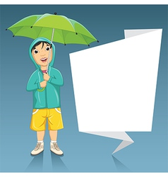 Of A Little Boy Holding Umbrel vector image vector image
