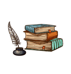 Old books and ink feather quill pen vector