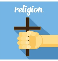Religion cross in hand faith vector