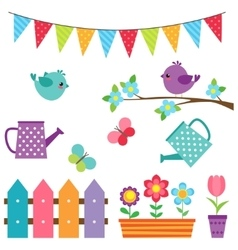 Set of birds and flowers vector image