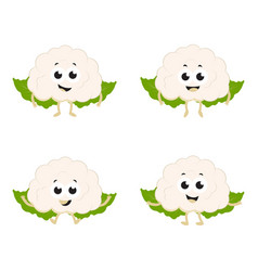 set with cartoon cauliflower vector image vector image