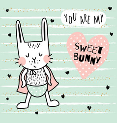 Sweet bunny boy vector
