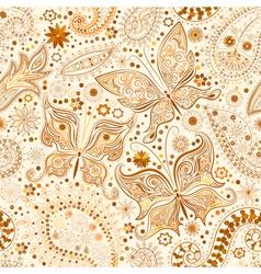 Vintage seamless floral motif background vector