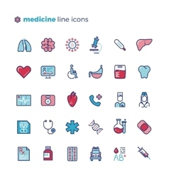 Medicine and medical equipment line icons vector