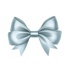 Shiny light blue satin gift bow close up vector