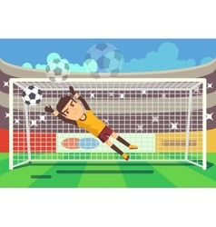 Soccer football goalkeeper catching ball in goal vector