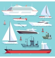 Ships at sea shipping boats ocean transport vector