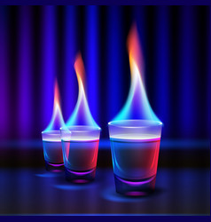 Burning alcohol shots vector